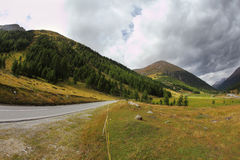 Winding and dangerous road Italy, Dolomites Stock Images