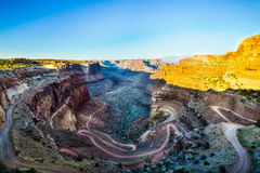 Winding Desert Trail Descending from Island in the Sky. Winding Desert trail in Canyonlands National Park of Utah travelling the White Rim Stock Photos