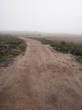 Winding dirt road goes on tundra Royalty Free Stock Image