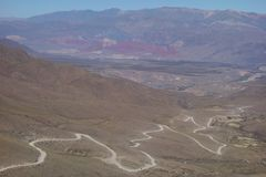 Winding and dirty road - humahuaca, North of argentina stock photography