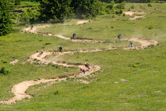 Winding downhill race. Eight downhill bikers chasing eachother on a winding track in the alps. Green grass slope and a track with dosed curves where the bikers royalty free stock photos