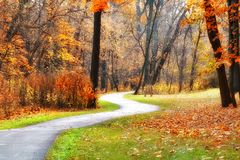 Winding Fall Walkway Royalty Free Stock Images