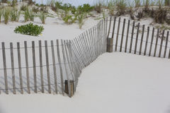 Winding fences and beach grasses Stock Photos