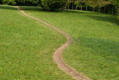 Winding footpath on a sunny meadow Stock Photos