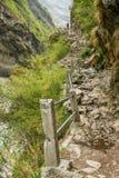 Winding footpath on the trekking way at Himalaya Royalty Free Stock Image