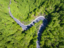 Winding forest road with cars on it. Top down view from a drone Stock Photography