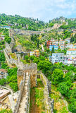 The winding fortress wall in Alanya Royalty Free Stock Image