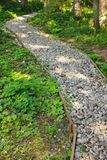 Winding Gravel Footpath With Wood Encasement Vertical Background Stock Images
