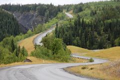 Winding highway. In sheep river valley provincial park, alberta, canada stock photo