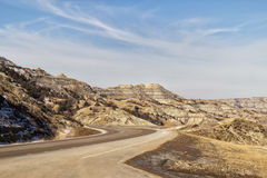 Winding highway through canyon. Winding highway through a canyon at spring time Royalty Free Stock Photography