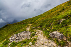 Winding Hiking Path. At Schynige Platte, Switzerland. Schynige Platte is a popular tourist attraction and hiking destination in the Bernese Oberland region of Royalty Free Stock Photos
