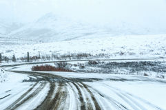 Winding ice covered road, Denali National Park Royalty Free Stock Photo