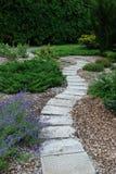 Winding landscaped path stock image