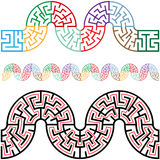 Winding Mazes in Arc Sections for Borders Frames. Travel the puzzling winding snake mazes, they tile horizontally for use as borders, frames, brushes, patterns Royalty Free Stock Photo