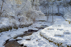 Winding minnehaha creek, winter Royalty Free Stock Images