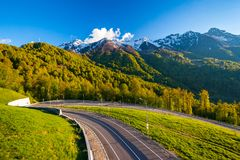 Summer spring forest mountain landscape, Sochi Russia. Royalty Free Stock Photo