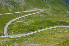 Winding mountain road. Aerial view of a mountain road Stock Images