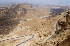 Winding mountain road from Al Mukalla to Aden in Yemen. Stock Image