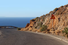 Winding mountain road along the coast-Crete, Greece Royalty Free Stock Photo