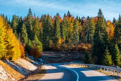 Winding mountain road in autumn forest. Lovely nature scenery with colorful foliage. travel europe by car concept Royalty Free Stock Photography