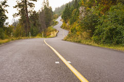 Winding mountain road in autumn mist. A mountain road winds through the misty autumn colors of the BC interior of Canada royalty free stock photo