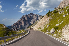 Winding, mountain road - Dolomites, Italy. Royalty Free Stock Photography