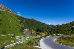 Winding, mountain road in the Dolomites, Italy. Stock Image