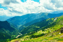 Winding mountain road in the French alps Royalty Free Stock Image