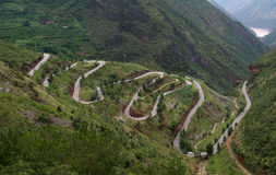 Winding mountain road. Ountain road in the Yunnan, China Stock Photos