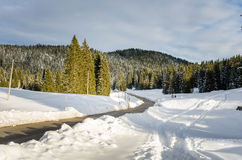 Winding Mountain Road in Winter Royalty Free Stock Image
