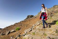 The winding mountain trekking path at Pico do Areeiro, Madeira, Portugal Stock Photos