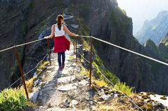 The winding mountain trekking path at Pico do Areeiro, Madeira, Portugal stock photo