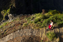 The winding mountain trekking path at Pico do Areeiro, Madeira, Portugal Stock Photos