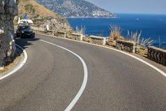 A winding and narrow road on the Amalfi Coast between Positano and Amalfi. Campania royalty free stock photography