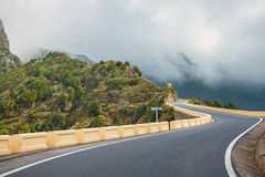 Winding and narrow road in Anaga Mountains, Tenerife Royalty Free Stock Images