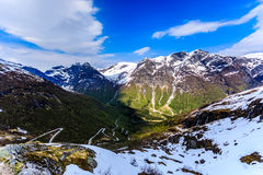 A winding and narrow road providing access to the mountain in Gaular. A winding and narrow road providing access to the mountain Royalty Free Stock Photography