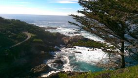 Winding Ocean Road. Driving along the coast of California Royalty Free Stock Photography