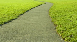 Winding Path. A winding asphalt path through the park on a sunny autumn afternoon Stock Photo