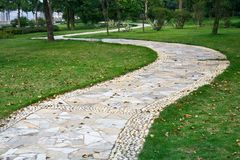 Winding path. Of public garden Stock Photo