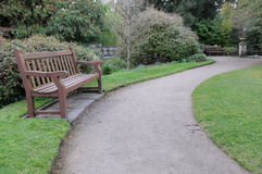 Winding Path and Benches in Garden Stock Photography