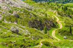 Winding path of Dolomites Mountains, Italy Stock Photography