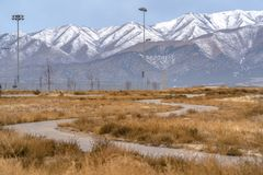 Winding path on a field with view of Lowe Peak royalty free stock images