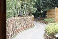 The winding path leads to a secluded quiet place-A corner of the park. Shengjin tower brick Pavilion style tower Jiangnan typical, 50.86 meters high tower, the Stock Photo