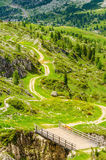 Winding path of Passo Falzarego, Dolomites , Italy Stock Photos