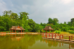 The winding path and pavilion of lakeside Stock Photography