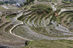 Winding path, sightseeing tourists, old mountain village Stock Photo