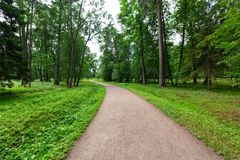 Winding Path through a tranquil verdant park with lawn and tall green trees in summer day for walking and relaxing and. Breathing clear air royalty free stock photos