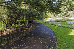 A winding path weaves its way through a public park. Royalty Free Stock Image