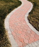 Winding Paver Sidewalk Royalty Free Stock Photography
