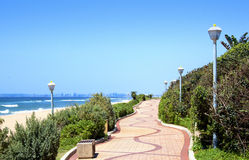 Winding Pedestrian Walkway With Beach And Ocean Backdrop Royalty Free Stock Photo